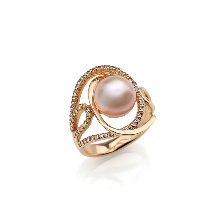 Ring pink gold 18kt brilliant cut diamonds white and black 0,50ct Chinese Pearl 9mm