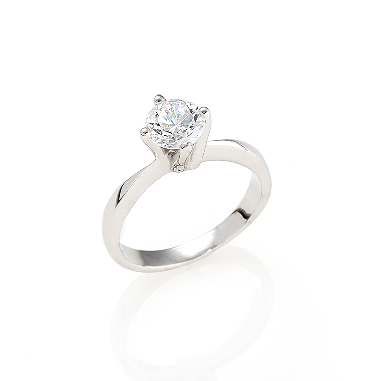 Solitaire ring white gold 18kt brilliant cut diamonds 0,50ct.