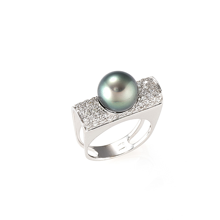 Ring white gold 18kt brilliant cut diamonds 0,60ct Tahiti Pearl