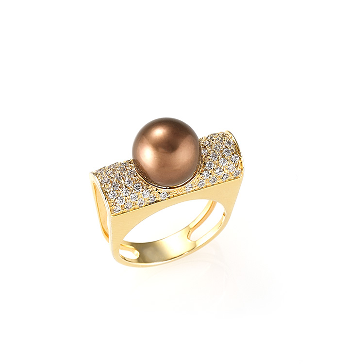 Anello oro rosa 18kt diamanti taglio brillante 0,60ct brown color Perle Chocolate.