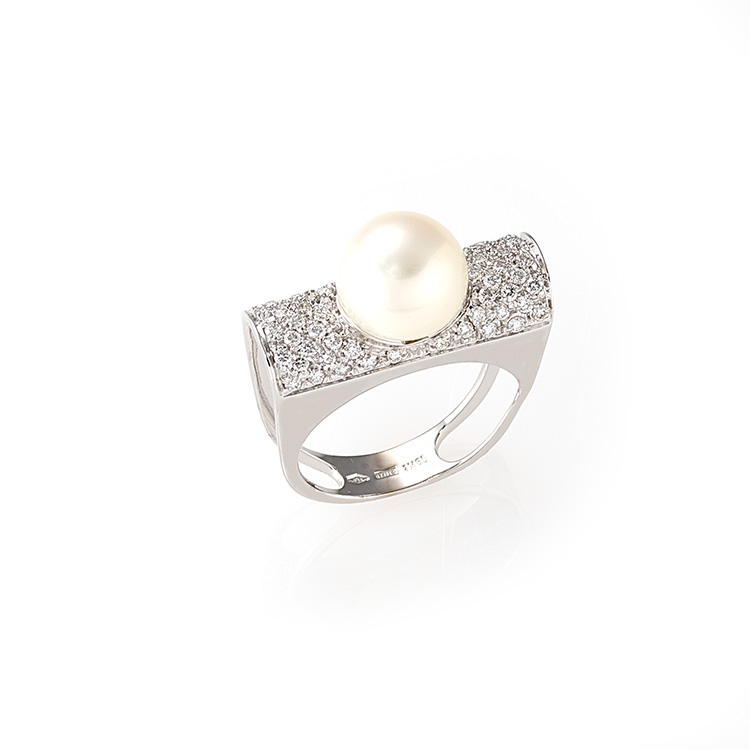 Ring white gold 18kt brilliant cut diamonds 0,60ct Japanese Pearl