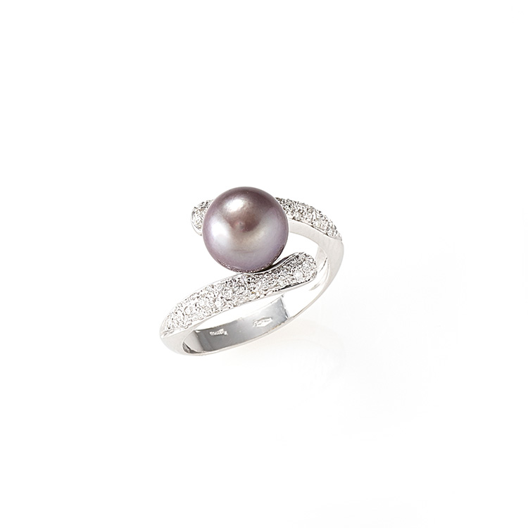 Ring white gold 18kt brilliant cut diamonds 0,25ct Tahiti Pearl