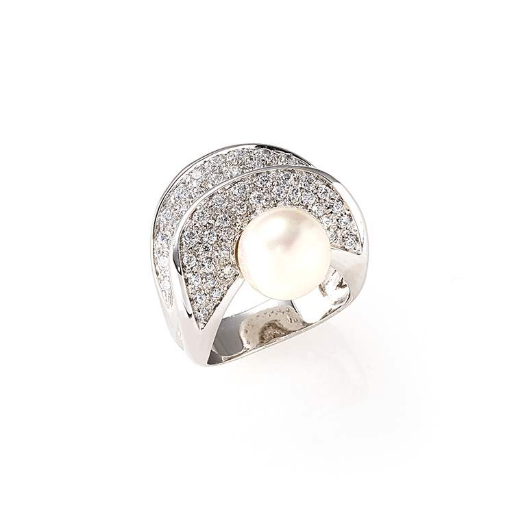 Ring white gold 18kt brilliant cut diamonds 1,00ct Australian Pearl