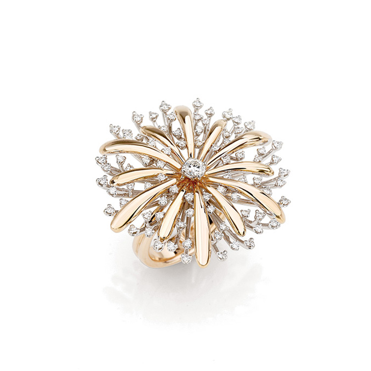 Ring white and pink gold 18kt brilliant cut diamonds 1,00ct