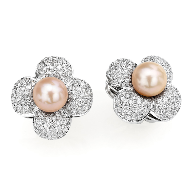 Earrings white gold 18kt brilliant cut diamonds 2,90ct Pearls 10mm