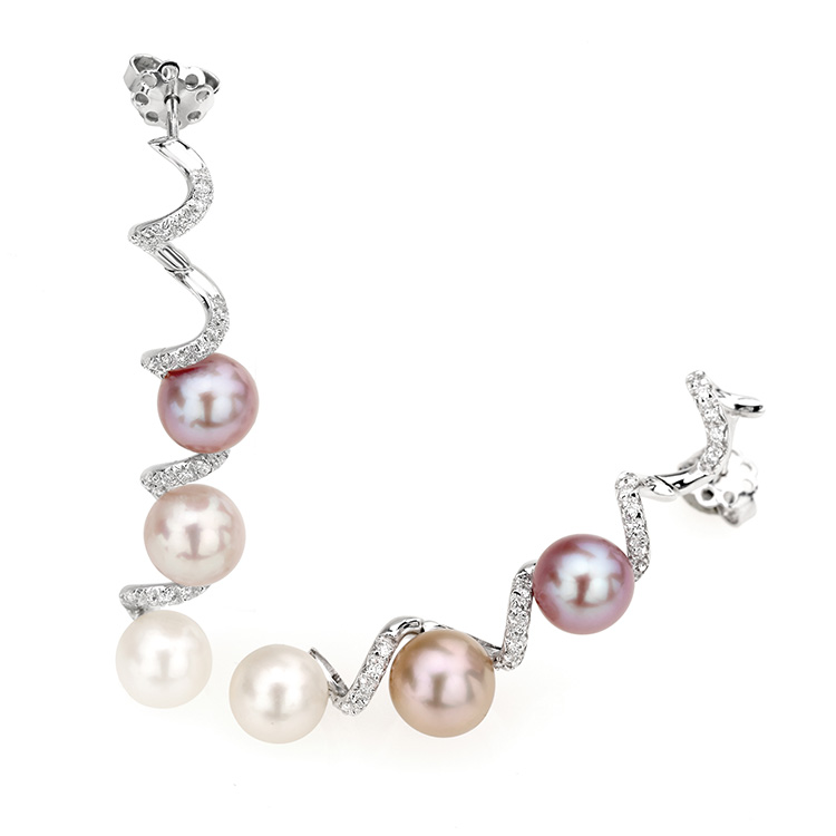 Earrings white gold 18kt brilliant cut diamonds 0,45ct Japanese Pearls from 7,50mm to 8mm