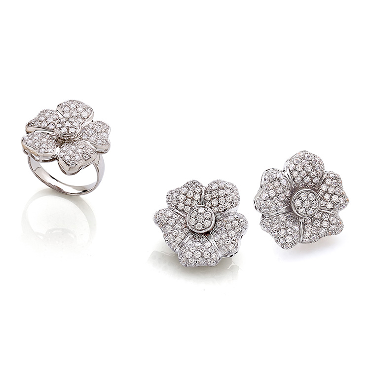 Ring white gold 18kt brilliant cut diamonds 2,50ct, Earrings white gold 18kt brilliant cut diamonds 5,00ct