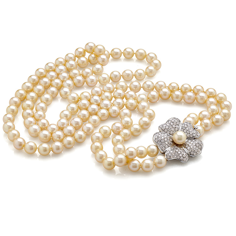 Sautoir Necklace white gold 18kt cut diamonds 6,50ct Japanese pearls 9/9,50mm
